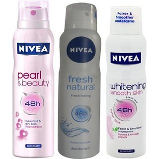 Nivea Pearl Beauty Fresh Natural Whitening Smooth Skin Deo For Women Of 150ml Each