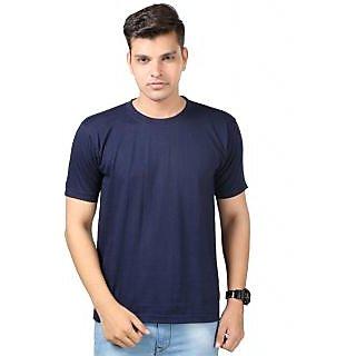 Tripr Mens Premium Solid Navy Round Neck Tshirt in OFFER price