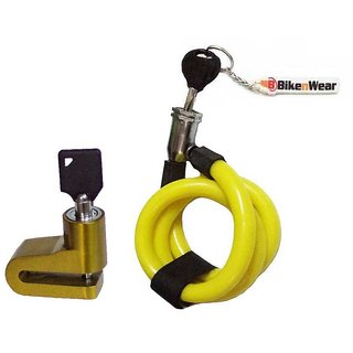 Multipurpose Spiral Locks Size-28 inches and Disc Brake Lock For Cycle  Motorcycle With Keychain