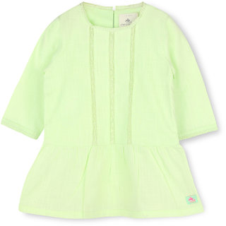 CHERRY CRUMBLE Soft Cotton Light Green Dress For Girl