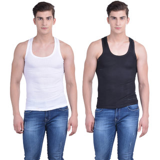 Dollar Bigboss Multi Plain Pack of 2 Vest for Men
