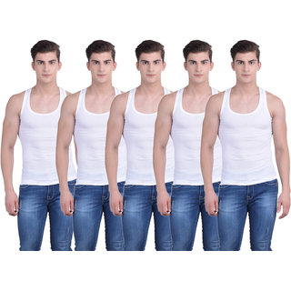 Dollar Bigboss White Plain Pack of 5 Vest for Men