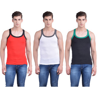 Dollar Bigboss Multicolor Plain Pack of 3 Vest for Men