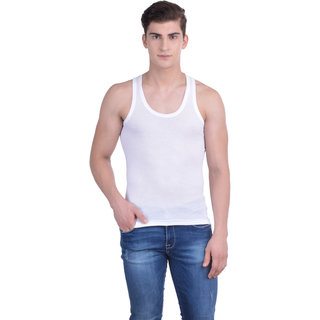 Dollar Bigboss White Plain Pack of 7 Vest for Men