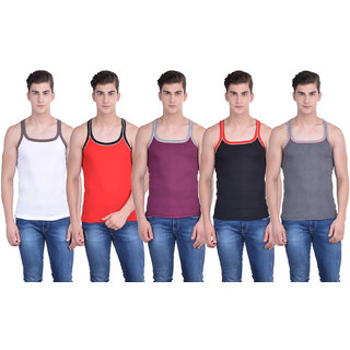 Dollar Bigboss Multicolor Plain Pack of 5 Vest for Men