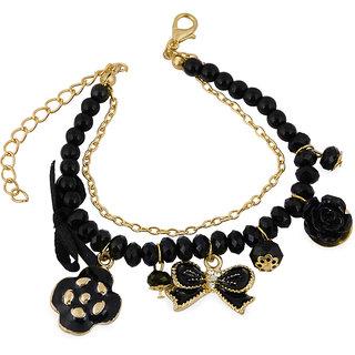 The Bling Stores Black Alloy Oxidised Bracelets for Women