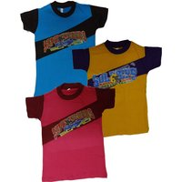 Kids Cotton Multicolour T-Shirt (Set of 3)