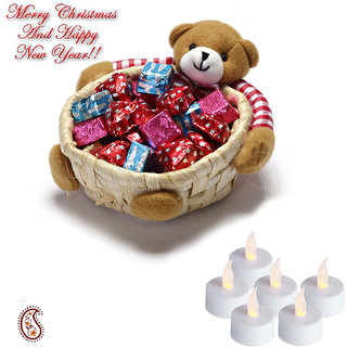 Teddy Bear cane Basket with Home made chocolates and Floating Candles