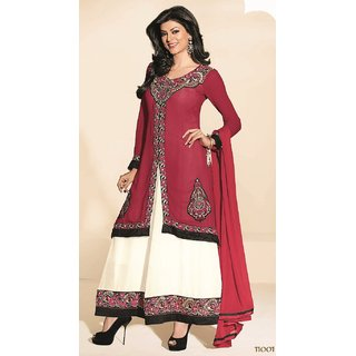 Crimson White Sushmita Sen Faux Georgette Anarkali Suit - 11001 (477)