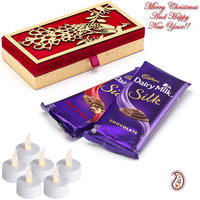 Dairy Milk Silk Pack with Red & Gold Peacock Design Box