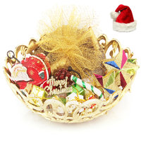 Christmas Golden Basket Plum Cake Hamper with Santa Key Stand, Decoaration Set and Star Dcor Set.