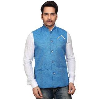 Trustedsnap Nehru Jacket For Mens Sky Blue