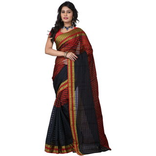 Poplin Checks Printed Silk Casual Wear Sarees
