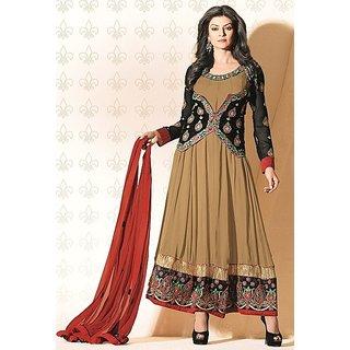 Designer Brown & Black  Sushmita Sen Faux Georgette Anarkali Suit - 11005 (477)