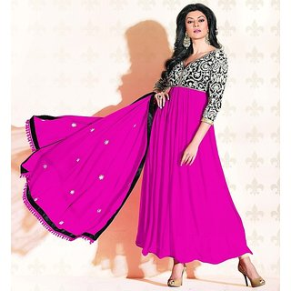 Designer Magenta & Black  Sushmita Sen Faux Georgette Anarkali Suit - 11006 (477