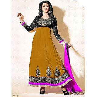Designer Brown, Black & Pink  Sushmita Sen Faux Georgette Anarkali Suit - 11009