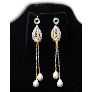 Beautiful Diamond And Pearl Drop Earring By Marvina