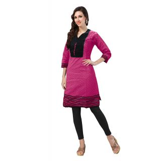 Pink Color Stitched Cotton Kurti