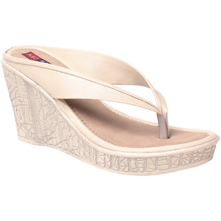 MSC Women Beige Slip on Wedges