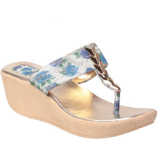 MSC Women Blue Slip on Wedges