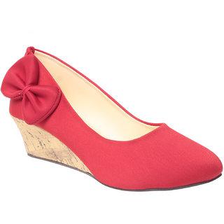 MSC Women Red Slip on Wedges