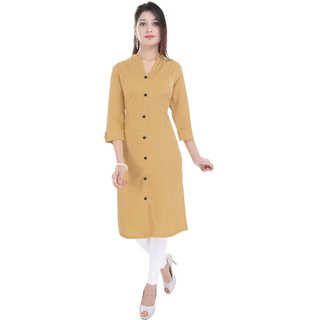 Shree Fashion Art Designer Light Brown Girls Indian Pure Cotton Kurti -107