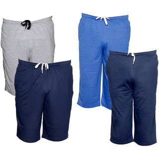 IndiWeaves Mens 2 Cotton 3/4 Capri and 2 Shorts/Barmuda Combo Offer (Pack of 4)_Multiple_Size:-32
