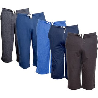 IndiWeaves Men's Regular Fit Casual Capri (Pack of-5)_Grey::Blue::Blue::Blue::Brown _Size-32