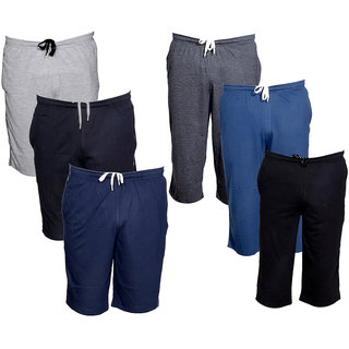 IndiWeaves Mens 3 Cotton 3/4 Capri and 3 Shorts/Barmuda Combo Offer (Pack of 6)_Multiple_Size:-32