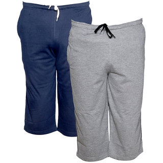 IndiWeaves Men's Regular Fit Casual Capri (Pack of-2)_Blue::Grey _Size-32
