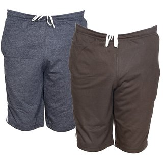 IndiWeaves Mens Regular Fit Casual Shorts (Pack of 2)_ Grey::Brown_Size-32
