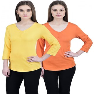 ESPRESSO WOMEN V.NECK TOP - PACK OF 2-YELLOW/ORANGE