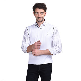 Eprilla White V-Neck Sleeveless Pullover For Men
