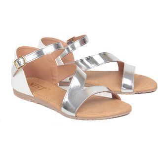 Gnist Women's Androgynous Angular White Buckle Sandals
