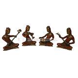 Brass Tribal Musical Set Sculpture