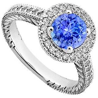Tanzanite And Diamond Engagement Ring 14K White Gold 0.85 CT TGW (Option - 6)