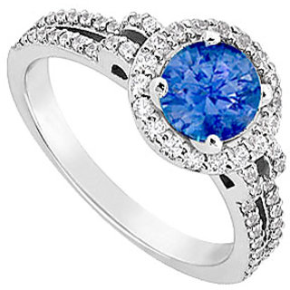 14K White Gold Sapphire Diamond Engagement Ring 1.00 CT TGW