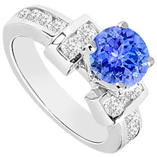 Tanzanite And Diamond Engagement Ring 14K White Gold 0.85 CT TGW (Option - 2)