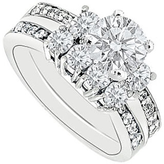 14K White Gold Diamond Engagement Ring With Wedding Band Sets 1.50 CT TDW