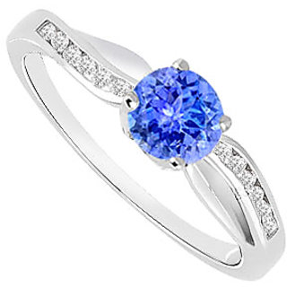 Tanzanite And Diamond Engagement Ring 14K White Gold 0.75 CT TGW (Option - 3)