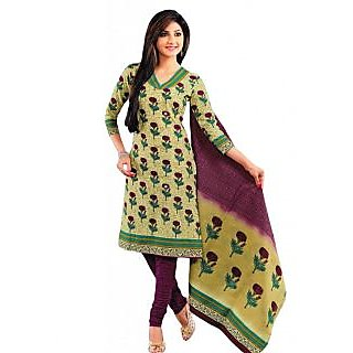 Salwar Studio Fawn & Magenta Cotton Unstitched Churidar Kameez