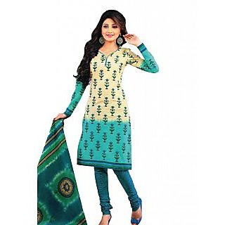 Salwar Studio Fawn & Blue Cotton Unstitched Churidar Kameez