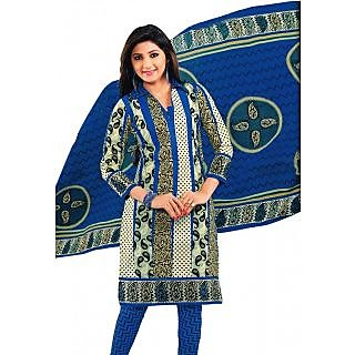 Salwar Studio Blue & Fawn Cotton Unstitched Churidar Kameez