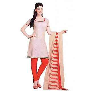 Salwar Studio Fawn & Red Cotton Unstitched Churidar Kameez