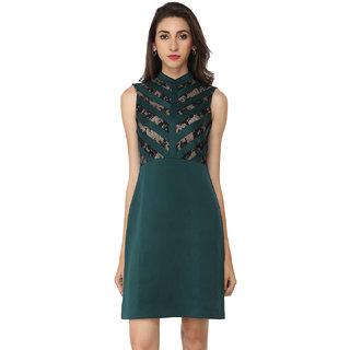 Soie Dark Green Solid High Neck A-line Polyester Dress