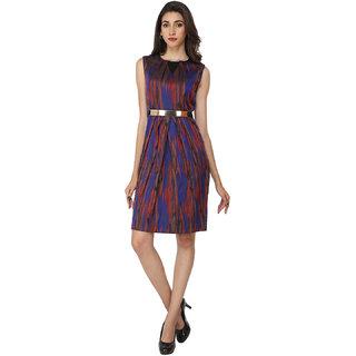 Soie Blue Self Design Round Neck A-line Jacquard Dress