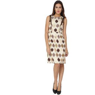 Soie Brown Printed Round Neck A-line Jacquard Dress
