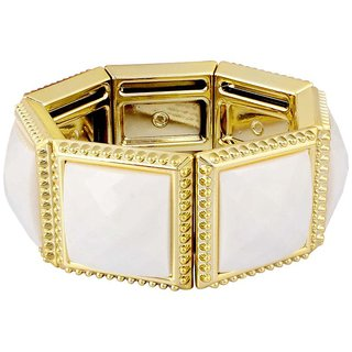 Donatella Rhodium Plated Yellow Bangles For Women-BF28784