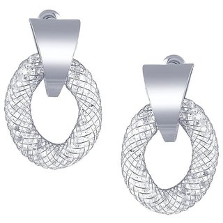 Tichino Rhodium Plated White Brass & Copper Earring For Women-EF28241