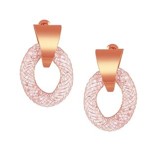 Tichino Rhodium Plated Pink Brass & Copper Earring For Women-EF28243